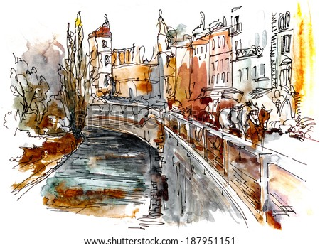 Small Town View Watercolor Painting Illustration Pattern Textile Wallpaper Poster Print Art