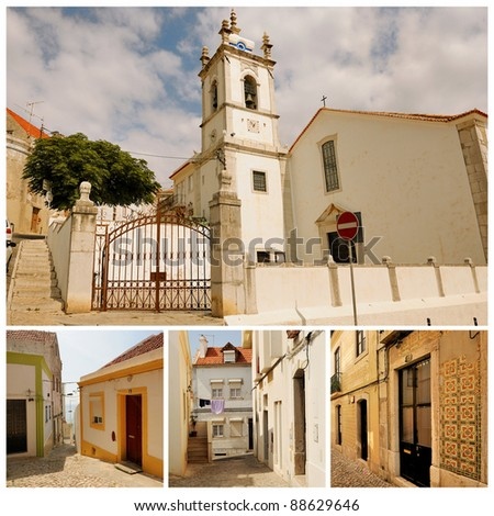 Small towns in Portugal. Portuguese Atlantic coast. Beach, rocks and ocean. Sesimbra. - stock photo
