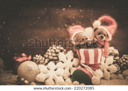 Small toy bears in christmas stoking  - stock photo