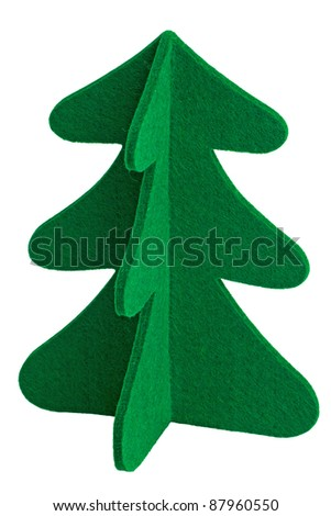 Small toy Christmas tree on a white background - stock photo