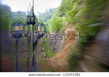Small train taken in Nilgiri, Tamil-Nadu, India - stock photo
