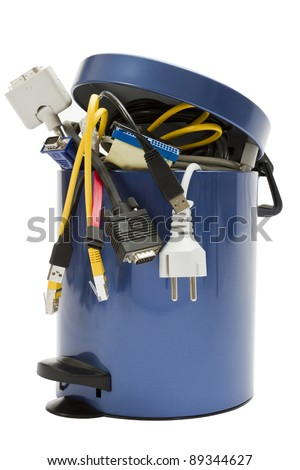 small trashcan with electronic waste on white background - stock photo