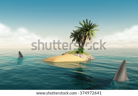 Small tropical island in the middle of the ocean with a small palm tree and sharks around it - stock photo