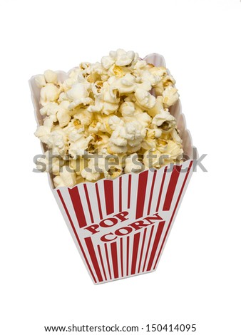Small Tub Of Popcorn/ Shot Overhead Vertical Shot/ Focus On Top /Isolated On A White Background/Snack Time - stock photo