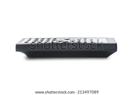 Small TV remote control on white background - stock photo