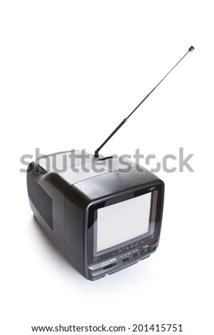 Small TV set with blank white screen - stock photo