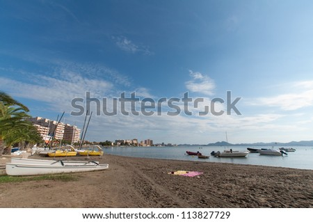 Small vessels located on the Mar Menor in the Region of Murcia in Spain