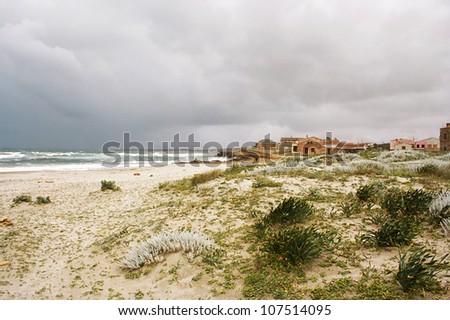 Small village along the coast of Sardinia - stock photo