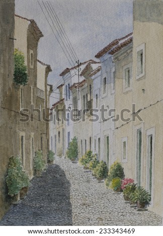 Small Village In Alentejo, Portugal. Watercolor Cityscape Painting. - stock photo