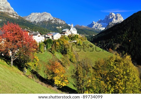 Small village in the Dolomite Alps