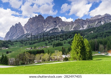 Small village in the Dolomite, Cortina D Ampezzo,South Tyrol, Italy - stock photo