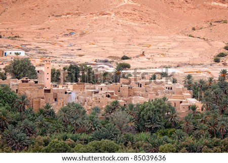 Small village in Ziz valley (Ziz Gorges) Morroco with palm trees around.