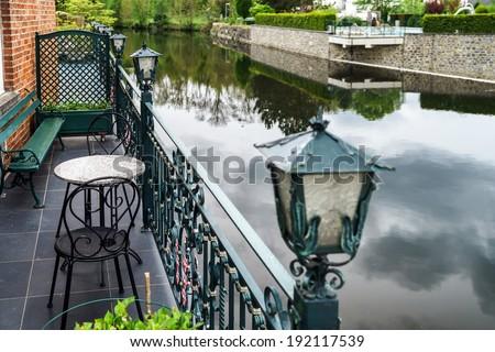 Small village lanscape with calm river, Han-sur-Lesse, Belgium - stock photo