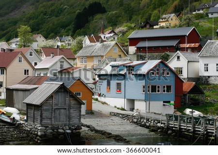 Small village near Fjord, Norway