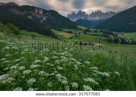 Small village near the mountain in Dolomites