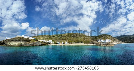 Small village of Mali, in Tinos island, Greece, with clear transparent waters