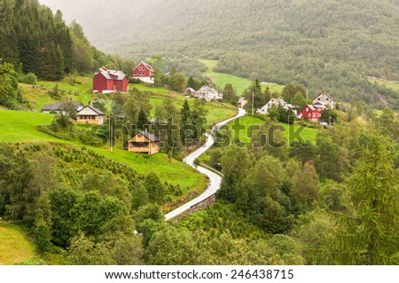 Small village of Naeroydalen valley - Sognefjord, Norway, Scandinavia - stock photo