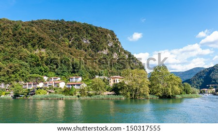 Small village over the Lake of Lugano, Switzerland