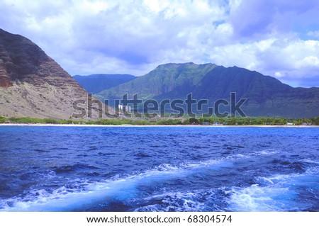 Small village with large hotel Honolulu Hawaii - stock photo