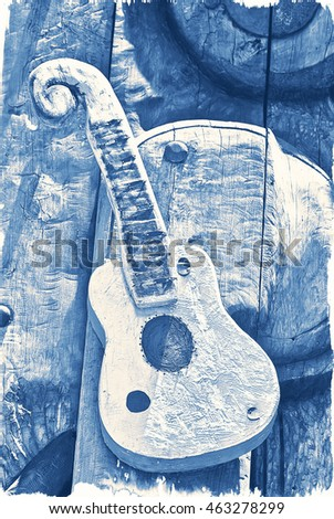 small vintage guitar, blue, music, lovely , grey ,wood, design, electric guitar ,parts,   acoustic, musical, instrument, background, string, head, art ,classic, closeup, wooden, sound,