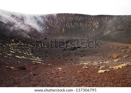 Small volcanic crater Silvestri on mountain Etna, Sicily - stock photo