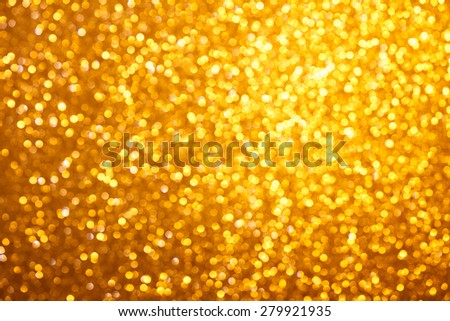 Small warm bright golden lights bokeh background - stock photo