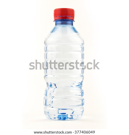 Small water bottle / Plastic bottle of drinking water isolated on white