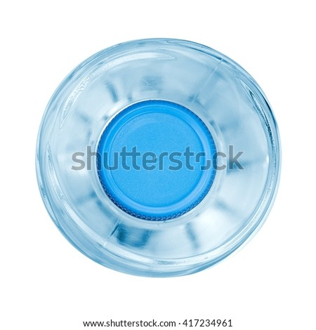Small water bottle, top view - stock photo