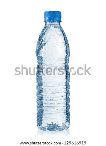 Small water bottle with drops - stock photo