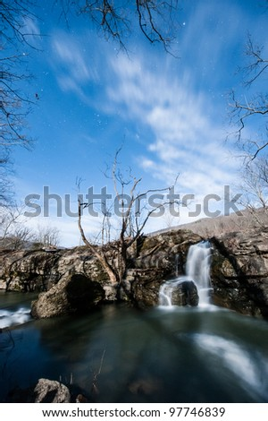 Small Waterfall at Sandstone Falls, WV at Night - stock photo