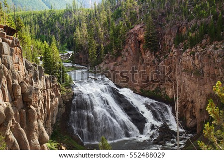 Small Waterfall flowing in Yellowstone National Park, United States