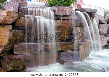 Small Waterfall in a Strip Mall in Montana