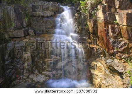 Small waterfall in Bidoup national park, Vietnam  - stock photo