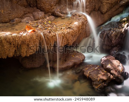 Small waterfall in deep forest of national park in Thailand. - stock photo