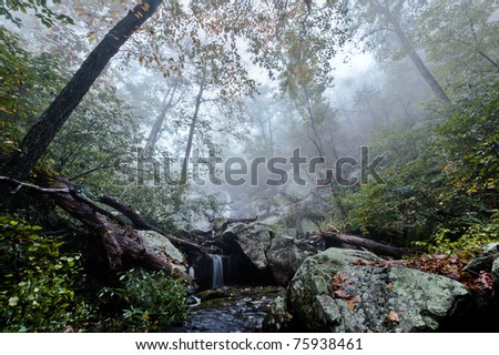 Small waterfall in fog. - stock photo