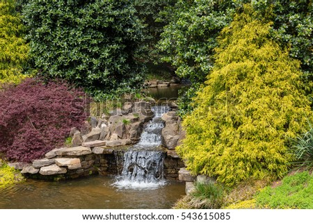 Small Waterfall in Japanese Garden Pond