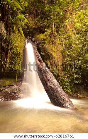 small waterfall in Mindo complex, Ecuador - stock photo