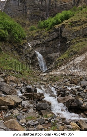 Small waterfall in the Kloental valley, Switzerland