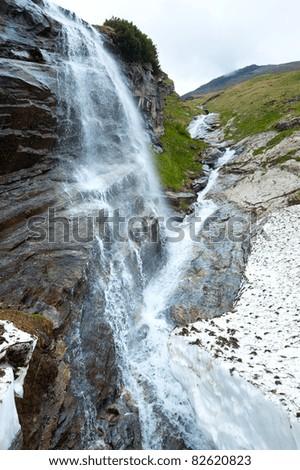 Small waterfall near Grossglockner High Alpine Road. - stock photo