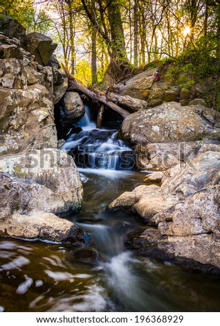 Small waterfall on a stream at Great Falls Park, Virginia. - stock photo