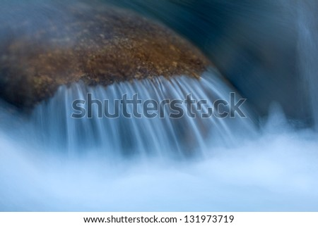 small waterfall with blue water
