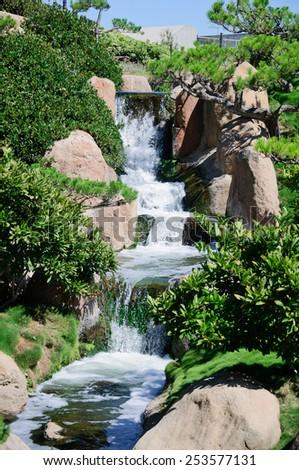 small waterfalls - stock photo