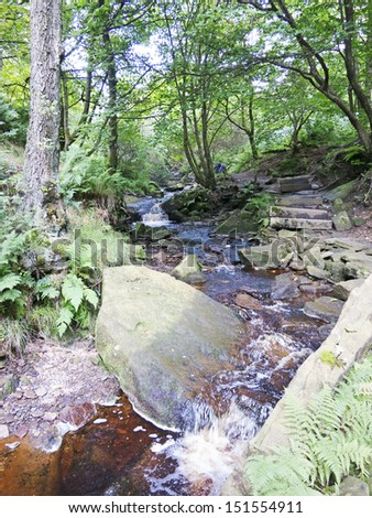 Small waterfalls above Ogden Reservoir, Halifax, Calderdale, West Yorkshire, UK - stock photo