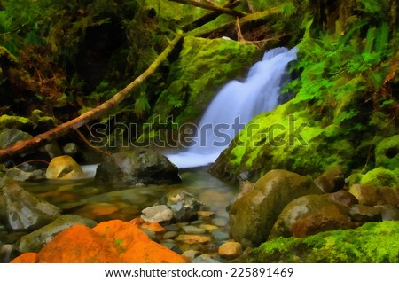 Small waterfalls in rainforest, Vancouver Island, British Columbia. Stylized as painting. - stock photo
