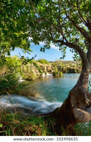 small waterfalls on river, Croatia - stock photo