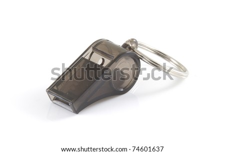 Small whistle on a white background. - stock photo