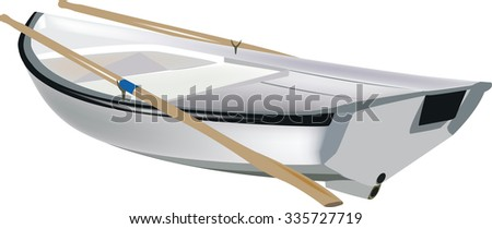 small white boat rowing