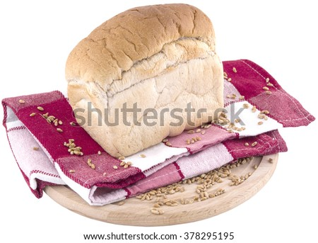 small white bread on red cover and wooden plank. isolated on white background. clipping path.