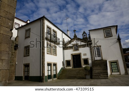 small white chapel in old town of Ponte de Lima. The oldest village in Portugal. - stock photo