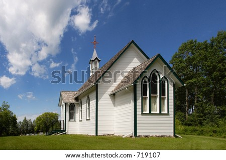 Small, white country church